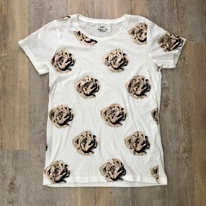 J.Crew Factory Metallic Floral Collector Tee Small